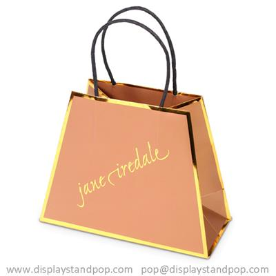 Gold Foil High End Paper Gift Bags with Twisted Handle