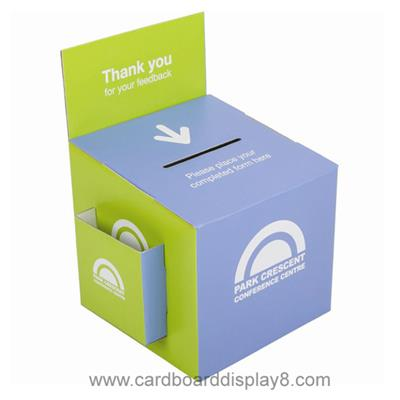 Custom Designed Cardboard Collecting Boxes, Corrugated Display Boxes with Pockets