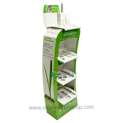 Depilatory Cream Custom Corrugated Free Standing Cardboard Floor Display Racks