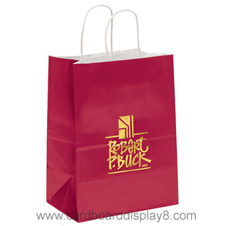 Hot Design Recyclable Kraft Paper Bag For Shopping With Gold Logo Foil Stamping