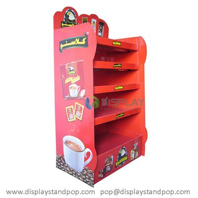 Leading Colorful Preserved Coffee Cardboard Floor Display Racks