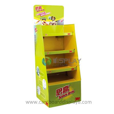 Free Standing Custom Cardboard Floor Display Stand for Kitchen Products Promotion