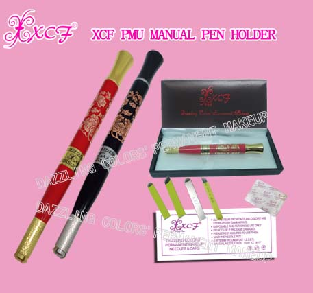 XCF PMU manual penholder/eyebrow-tattooing pen/ curved needle/dazzling colors'