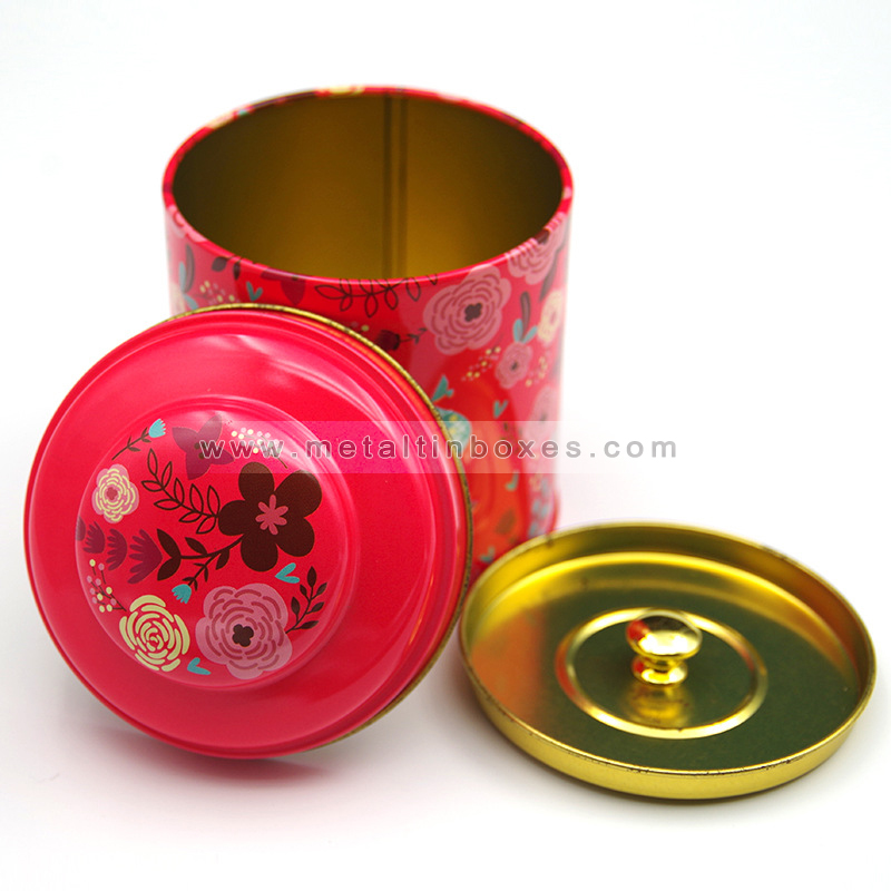 Tea storage tins custom craft metal airtight round tea tin