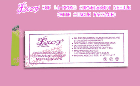 XCF14-prong curved&soft needle/with single package/eyebrow-tattooing needle/permanent makeup product