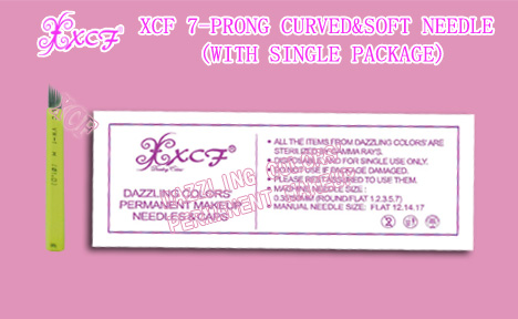 XCF 7-prong curved&soft needle/with single package/eyebrow-tattooing needle/permanent makeup product