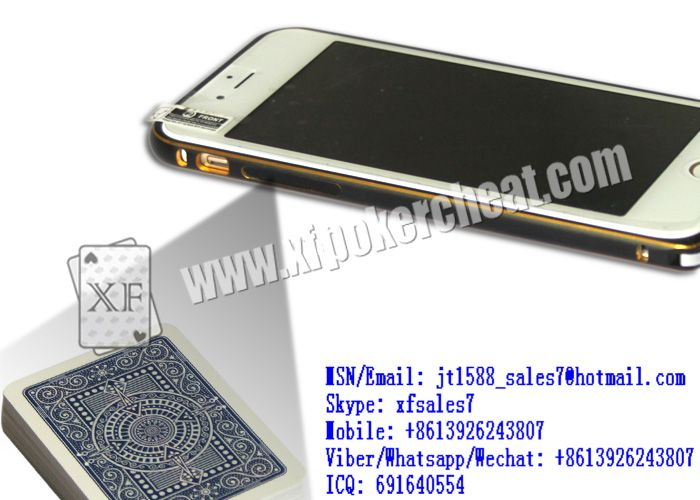 XF iPhone 6 mobile phone camera to scan edges sides bar-codes marked playing cards for MDA poker predictors and iPhone poker scanners and CVK cards readers and black and white Samsung S4 poker analyze