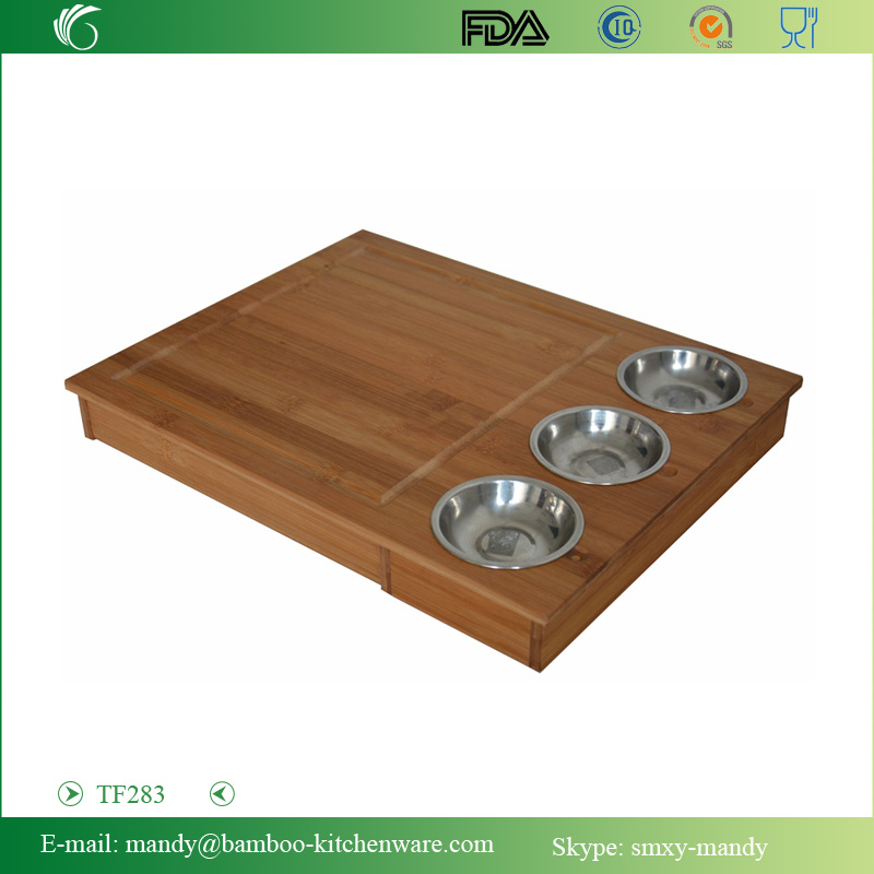 Large Bamboo Chopping Block with 3pcs plates