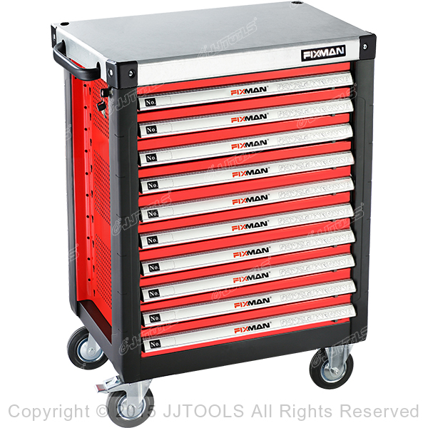 10 Drawers Roller Cabinet With Metal Worktop