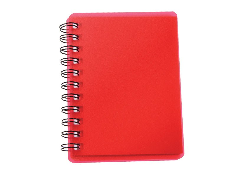Red spiral pocket notebook with sticky notes