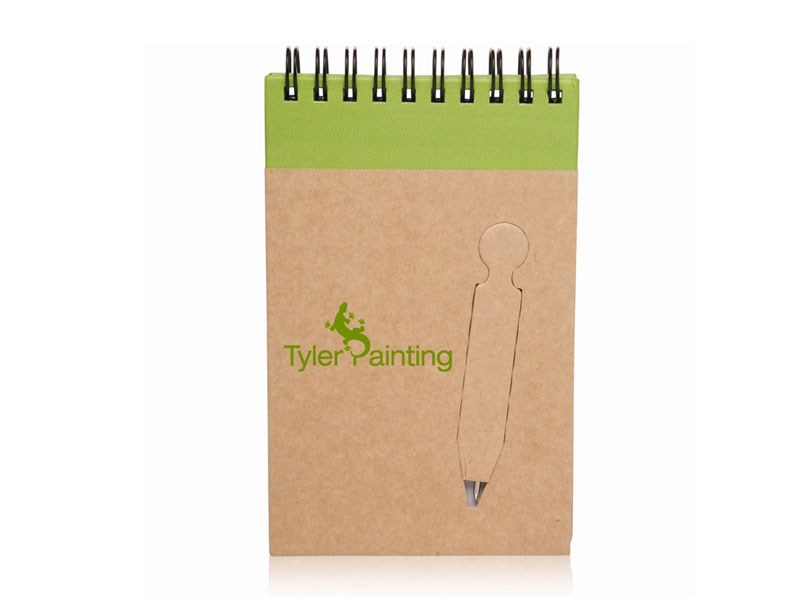 Recycle Mini Spiral Notebooks with die cut pen