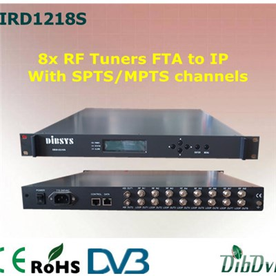 8x RF Tuners FTA IRD With SPTS/MPTS Channels