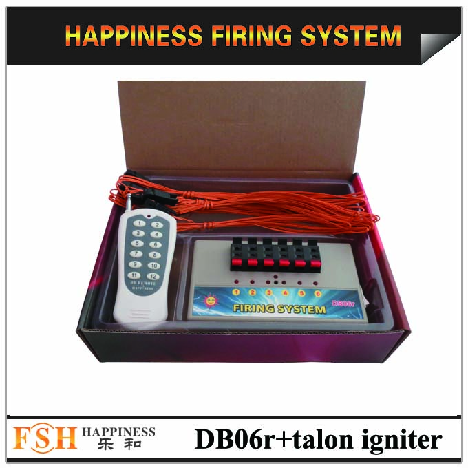 Liuyang Happiness 6 channels Wireless Remote Control Fireworks Firing System with 100 pcs 1M talon igniters