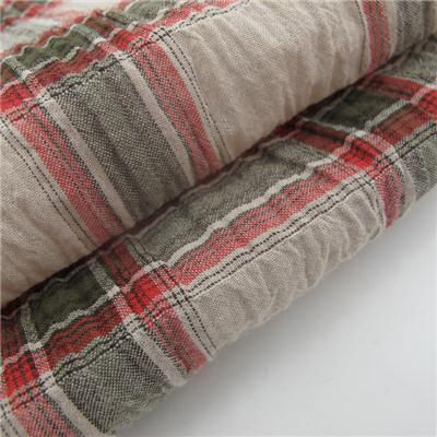 Yarn Dyed Check Plisse Fabric