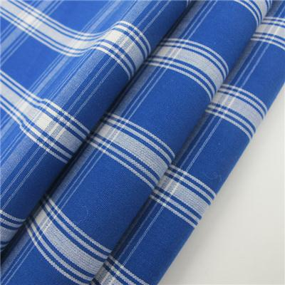100% Cotton Plaid Shirt Fabric Blue And White Popular