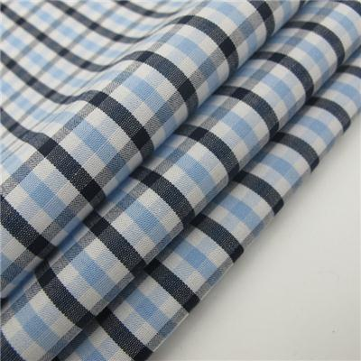 100% Cotton Chambray Shirting Fabric For Men Check Design