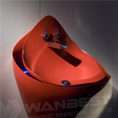 Hi Macs Thermoformed Floating Red Vanity