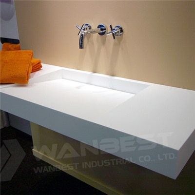Corian White Floating Vanity Sink