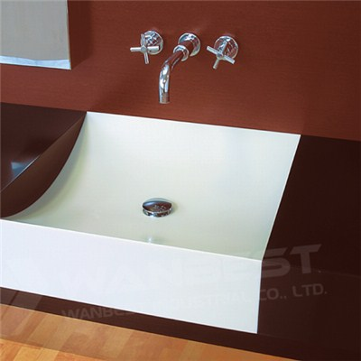 Acrylic Solid Surface White And Brown Vanity
