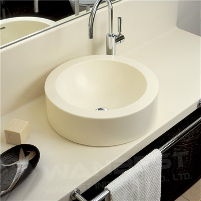 Corian Artificial Marble Cream Vanity And Sink