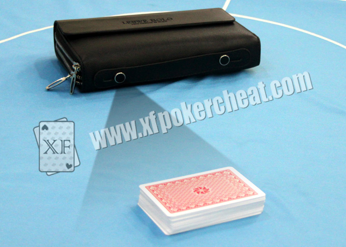 XF New Style Man's Leather Wallet Camera To Scan Bar-Codes Marked Playing Cards For Samsung Galaxy Poker Analyzer