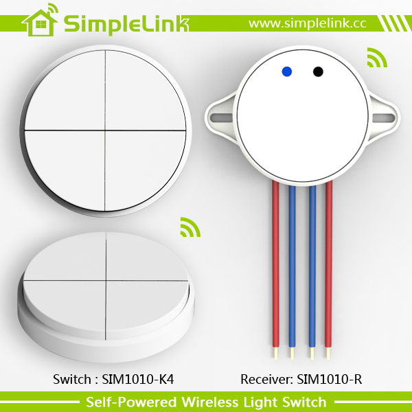 4 gang fashion round shape wireless self powered wall switch