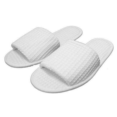 Hotel White Cotton Waffle Slippers