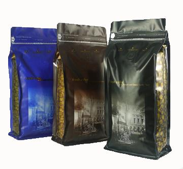 Plastic Gusseted Valved Tintie Coffee Bags