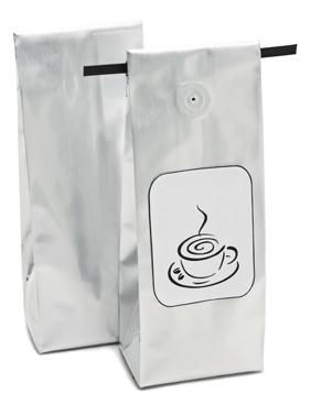 Plastic Foil Gusseted Valved Tintie Coffee Bags