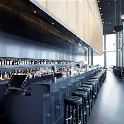 Super Extremely Long Black Solid Surface Wine Bar Counters