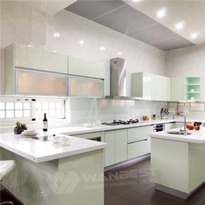 Corian Kitchen Counter Top With Wood Lacquer Painting Cabinet