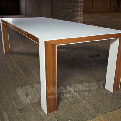 New Solid Surface Artificial Marble With Wood Office Desk