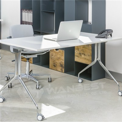 Simple White Solid Surface Table Top Desk With Wheel