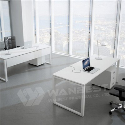 Solid White Office Desk
