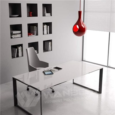 Simple Solid Surface Office Table With Mental Frame And Leg
