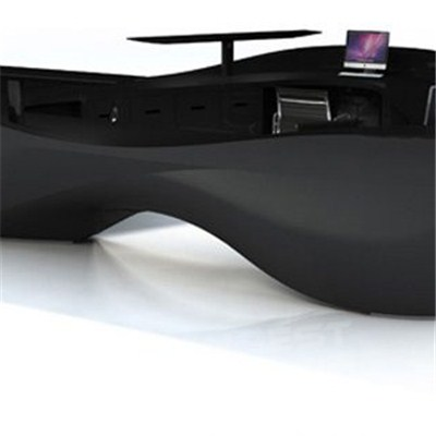 Large Modern Design Black Solid Surface Information Desk