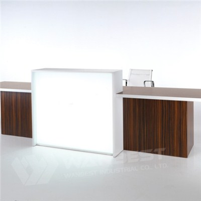 Reception Counter Middle Led Lighitng Wood Cabinet Customized Logo