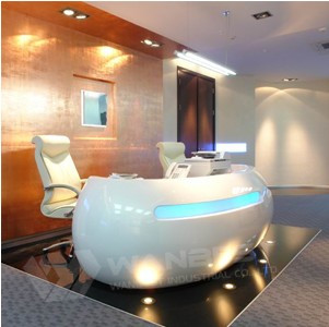 Modern Reception Desk With Led Lighting In Front
