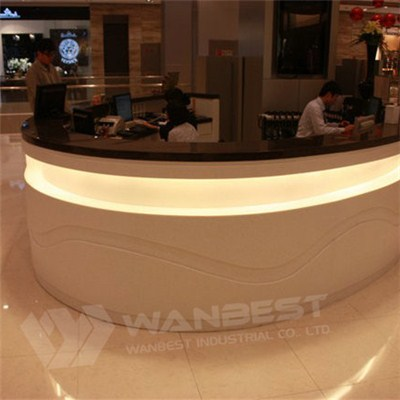 Shopping Mall Service Information Cashier Counter Black Solid Surface Top