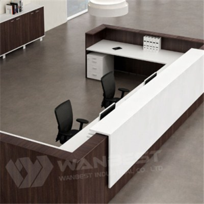 Great Reception Counter Design White Solid Surface With Wood Veneer