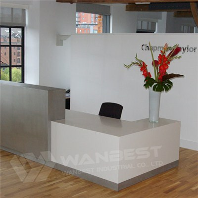 Company Office Front Desk White Solid Surface With Mental Decoration