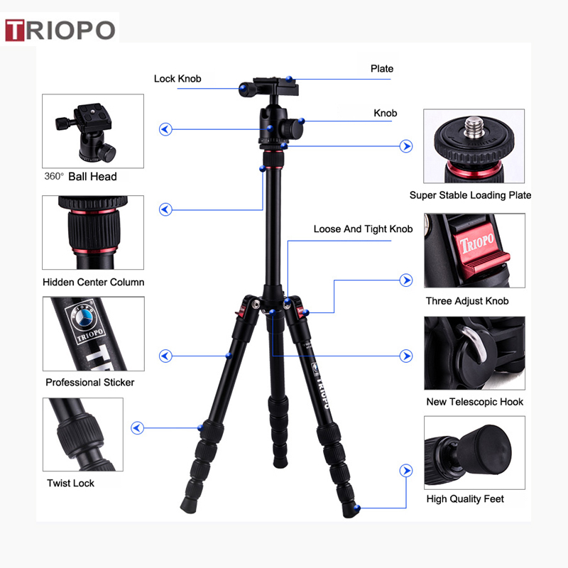 TRIOPO MT-2205+KJ-1S digital tripod kit ,aluminium alloy tripod ,travel tripod and Marco tripod