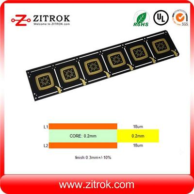 Black Soldermask 0.3mm Thick Double-sided 18um Copper PCB