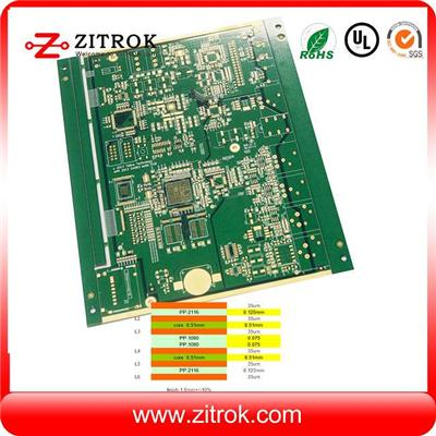 5&5 Mil Track W&D, And 0.2mm Hole Size 6layer Multilayer Board
