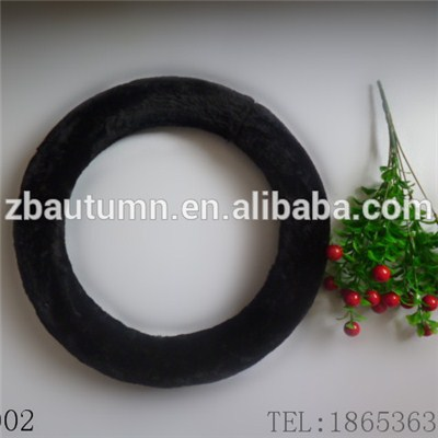Black Long Velvet Steering Wheel Cover