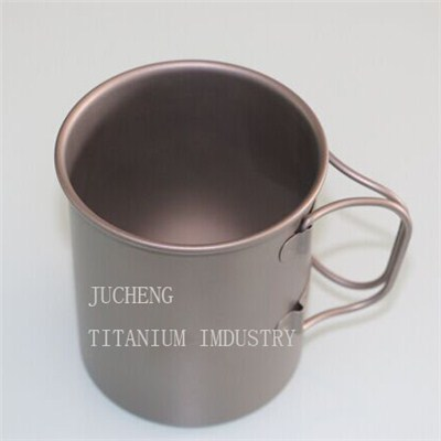 Outdoor 450ml Handle Foldable Titanium Cup