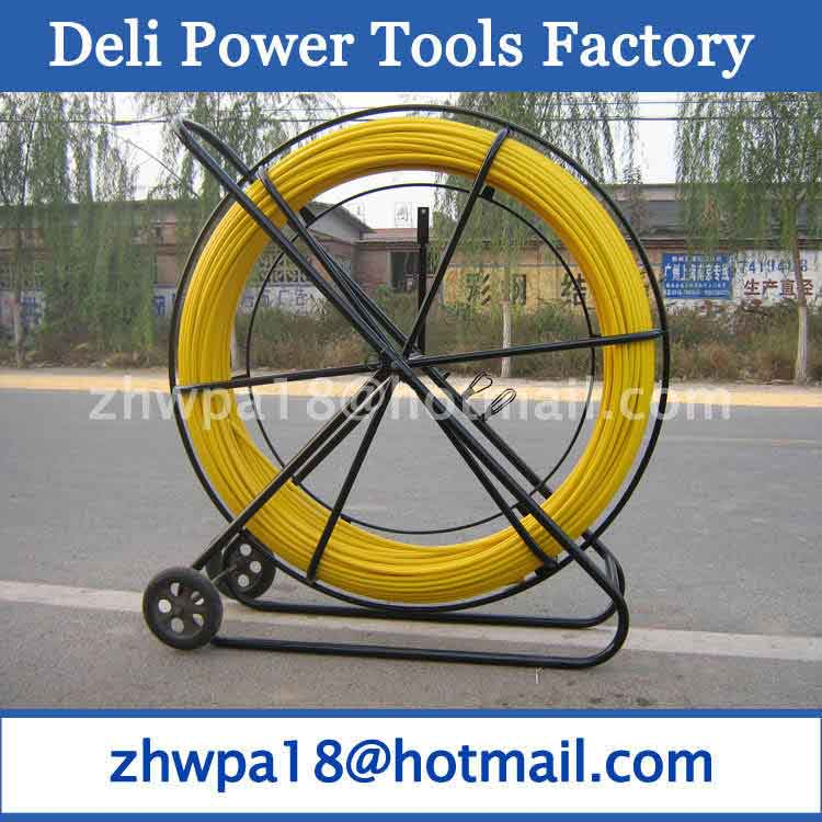 Yellow Fibersnake Duct Rodder with cage and wheels