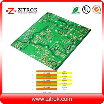 1.8mm 6L Matte Green Soldermask Immersion Gold PCB