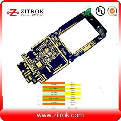 6Layer 35um Blue Soldermask PCB Circuit Board