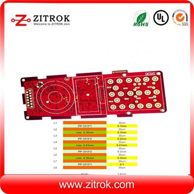 High TG180 Red Soldermask 8Layer Immersion Gold Board